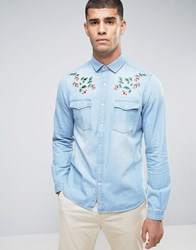 Asos Regular Fit Western Shirt With Floral Embroidered Collar In Bleach Bleach Wash Blue