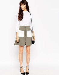 Asos Bonded A Line Skirt With Contrast Pockets Khaki
