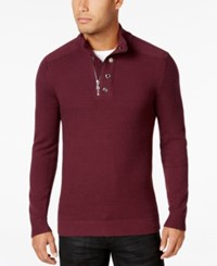 Inc International Concepts Men's Bankman Quarter Zip Eyelet Sweater Only At Macy's Vintage Wine