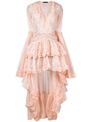 Amen High Low Hem Lace Dress Pink