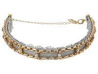 Steve Madden Grey Lace Leather Chain Cast Stone Choker Necklace Gold Necklace