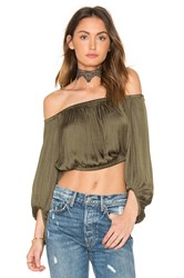 Bardot Off Shoulder Top Army