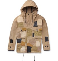 Coach Patchwork Cotton Twill And Leather Parka Green