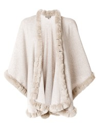 N.Peal Fur Trimmed Cashmere Cape Nude And Neutrals