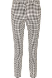 Theory Treeca Houndstooth Cotton Blend Tapered Pants Black