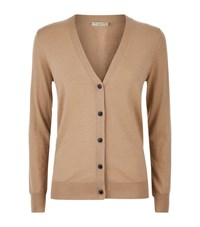 Burberry Check Detail Merino Wool Cardigan Female Camel