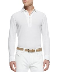Loro Piana Huck Lace Long Sleeve Polo White Optwht