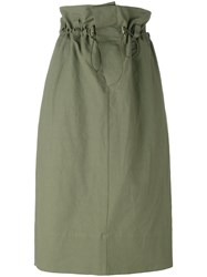 Stella Mccartney Paper Bag Waist Skirt Women Cotton Linen Flax Polyamide 36 Green