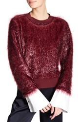 Tov Lustrous Faux Fur Sweatshirt Red