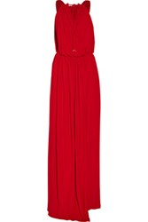 Just Cavalli Draped Stretch Jersey Gown Red