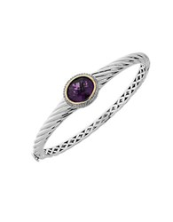 Lord And Taylor Amethyst Diamond Sterling Silver 14K Yellow Gold Bracelet Purple