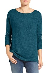 Gibson Women's Cozy Fleece Ballet Neck High Low Pullover Heather Dark Teal