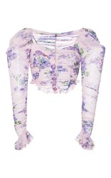 Alessandra Rich Heart Shaped Floral Print Blouse Purple