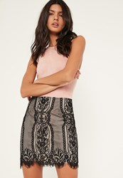 Missguided Black Contrast Lining Scallop Hem Lace Mini Skirt