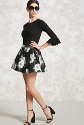 Forever 21 Floral Box Pleat Skirt Black Grey
