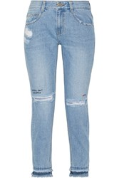 Steve J And Yoni P Embroidered Distressed High Rise Skinny Jeans Mid Denim