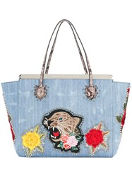 Philipp Plein Flower Tiger Patch Tote Cotton Blue