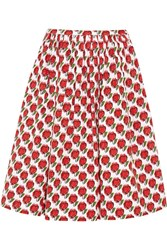 Prada Printed Stretch Denim Skirt Red