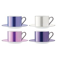Lsa International Polka Assorted Teacups And Saucers Set Of 4 Pastel