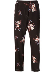 Nina Ricci Floral Print Cropped Trousers Black