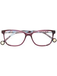 Carolina Herrera Rectangular Shape Glasses Pink And Purple