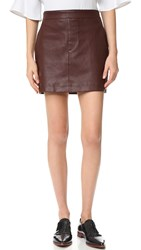 Helmut Lang Stretch Leather Mini Skirt Mahogany