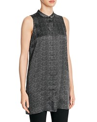 Eileen Fisher Mandarin Collar Dotted Silk Tunic Black