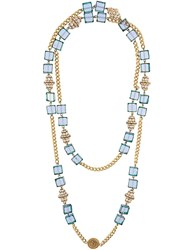 Chanel Vintage Glass Beaded Necklace Blue