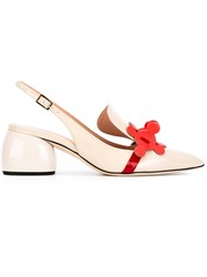 Anya Hindmarch Apex Slingback Pumps Women Patent Leather 38 Nude Neutrals
