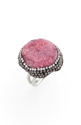 Elise M. Goddess Drusy And Crystal Ring Hot Pink
