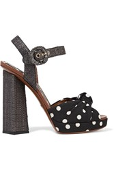 Dolce And Gabbana Polka Dot Canvas Raffia Sandals Black