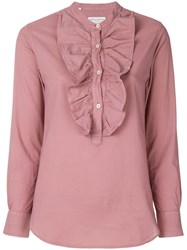 Officine Generale Ruffled Henley Blouse Pink And Purple
