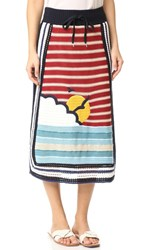 Red Valentino Waves And Sun Knit Skirt Red Blue White