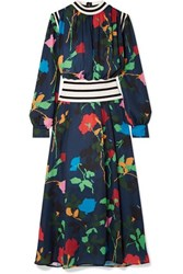 Msgm Ribbed Knit Trimmed Floral Print Crepe De Chine Maxi Dress Navy