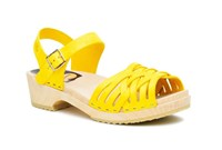Swedish Hasbeens Braided Low Sandals Yellow