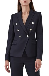 Reiss Tally Double Breasted Wool Blend Jacket Blue