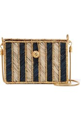 Magnetic Midnight Rayas Woven Palm Leaf And Gold Plated Shoulder Bag Blue Midnight Blue