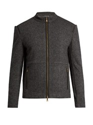 John Varvatos Zip Through Wool And Cotton Blend Bomber Jacket Grey