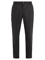 De Bonne Facture Pleated Front Tapered Leg Wool Trousers Charcoal