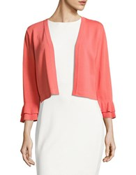 Calvin Klein Open Front Ruffle Sleeve Jacket Porcelain Rose