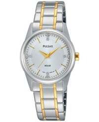 Pulsar Women's Solar Dress Two Tone Stainless Steel Expansion Bracelet Watch 28Mm Py5003