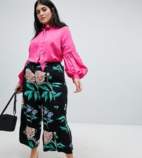 Junarose Organic Wide Legged Floral Trousers Multi