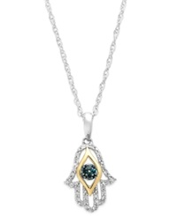 Macy's Diamond 1 10 Ct. Tw. Hamsa Pendant Necklace In Sterling Silver And 14K Gold