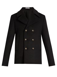 Tomas Maier Double Breasted Wool Blend Coat Black