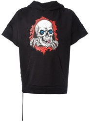 Unravel Project Short Sleeve Skull Hoodie Black