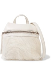 Kara Micro Textured Leather And Calf Hair Shoulder Bag Off White