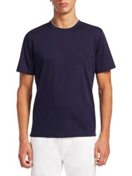 Saks Fifth Avenue Collection Crew Tee With Layer Neck Trim Navy Grey