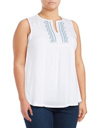 Lucky Brand Plus Embroidered Peasant Tank Bright White