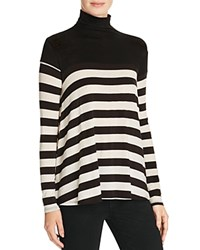 Velvet By Graham And Spencer Luxe Gauze Stripe Turtleneck Sweater Black Cream
