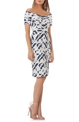 Kay Unger Off The Shoulder Jacquard Sheath Dress Navy White